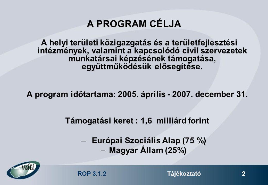 ROP 3.1.2Tájékoztató 2 A PROGRAM CÉLJA A helyi területi közigazgatás és a területfejlesztési intézmények, valamint a kapcsolódó civil szervezetek munk