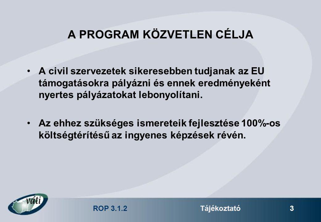 ROP 3.1.2Tájékoztató 3 A PROGRAM KÖZVETLEN CÉLJA A civil szervezetek sikeresebben tudjanak az EU támogatásokra pályázni és ennek eredményeként nyertes pályázatokat lebonyolítani.