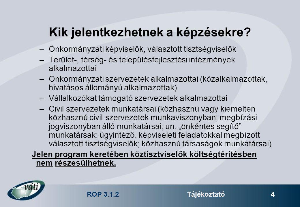 ROP 3.1.2Tájékoztató 4 Kik jelentkezhetnek a képzésekre? –Önkormányzati képviselők, választott tisztségviselők –Terület-, térség- és településfejleszt