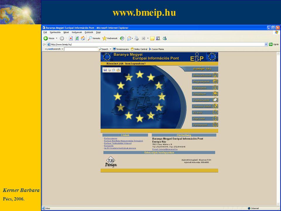 Kerner Barbara Pécs, 2006. INFORMÁCIÓ KI MIT MIÉRT HOL MIKOR HOGYAN KITŐL.