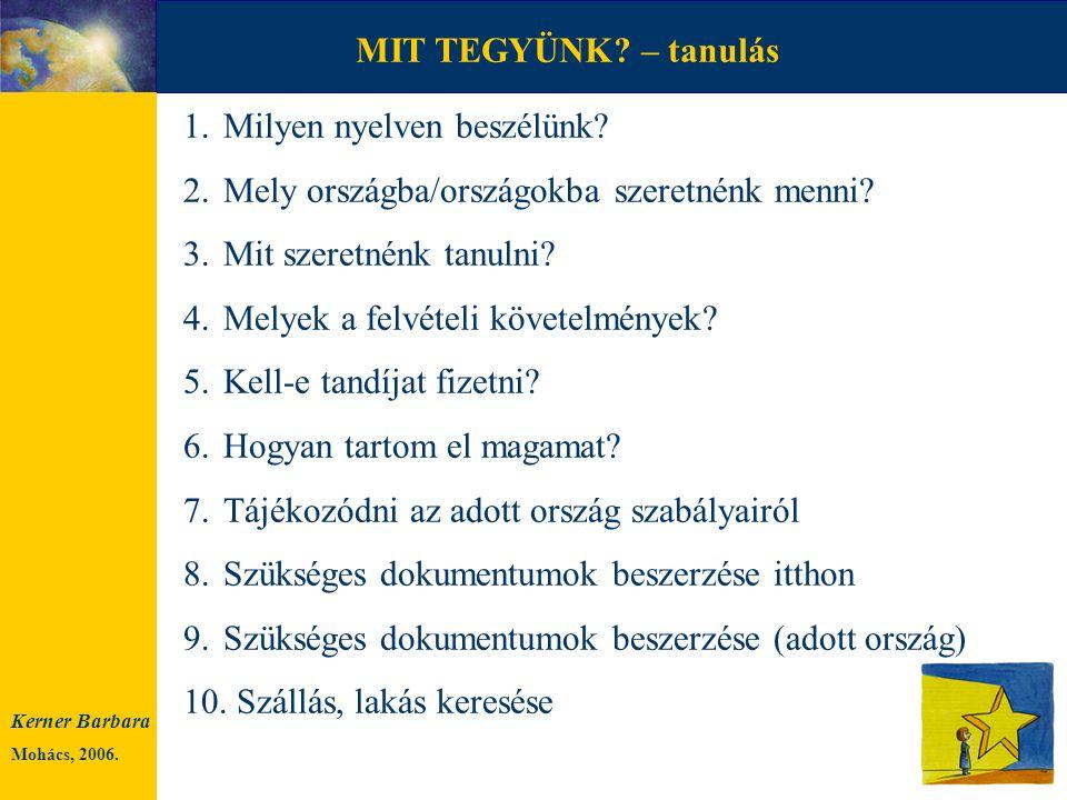 MIT TEGYÜNK? – munkavállalás 1.Milyen nyelven beszélünk? 2.Mely országba/országokba szeretnénk menni? 3.Egyedül vagy a családdal? 4.Tájékozódni az ado