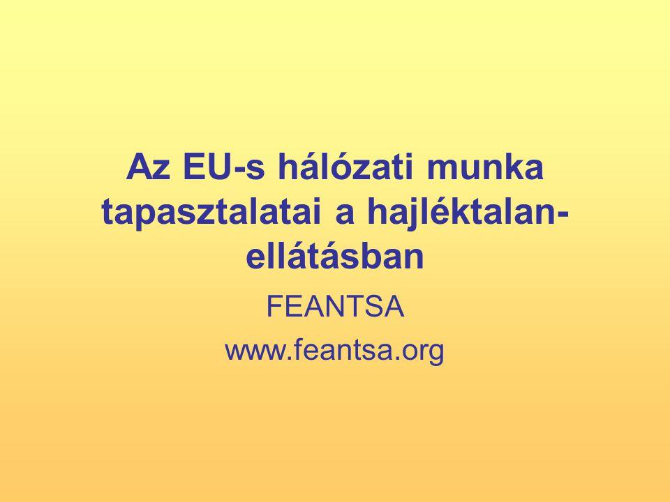 Az EU-s hálózati munka tapasztalatai a hajléktalan- ellátásban FEANTSA www.feantsa.org