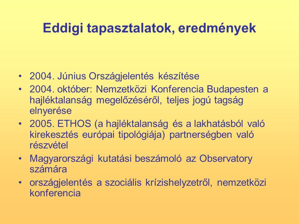 Eddigi tapasztalatok, eredmények 2004. Június Országjelentés készítése 2004.