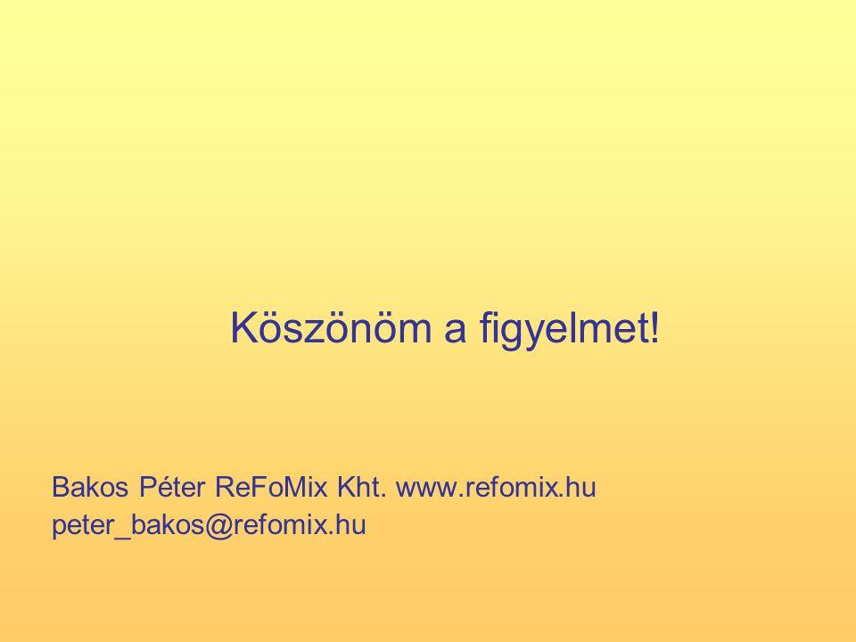 Köszönöm a figyelmet! Bakos Péter ReFoMix Kht. www.refomix.hu peter_bakos@refomix.hu