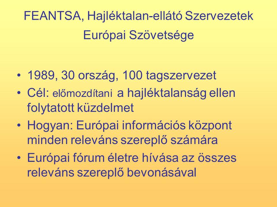 FEANTSA, Hajléktalan-ellátó Szervezetek Európai Szövetsége 1989, 30 ország, 100 tagszervezet Cél: előmozdítani a hajléktalanság ellen folytatott küzdelmet Hogyan: Európai információs központ minden releváns szereplő számára Európai fórum életre hívása az összes releváns szereplő bevonásával