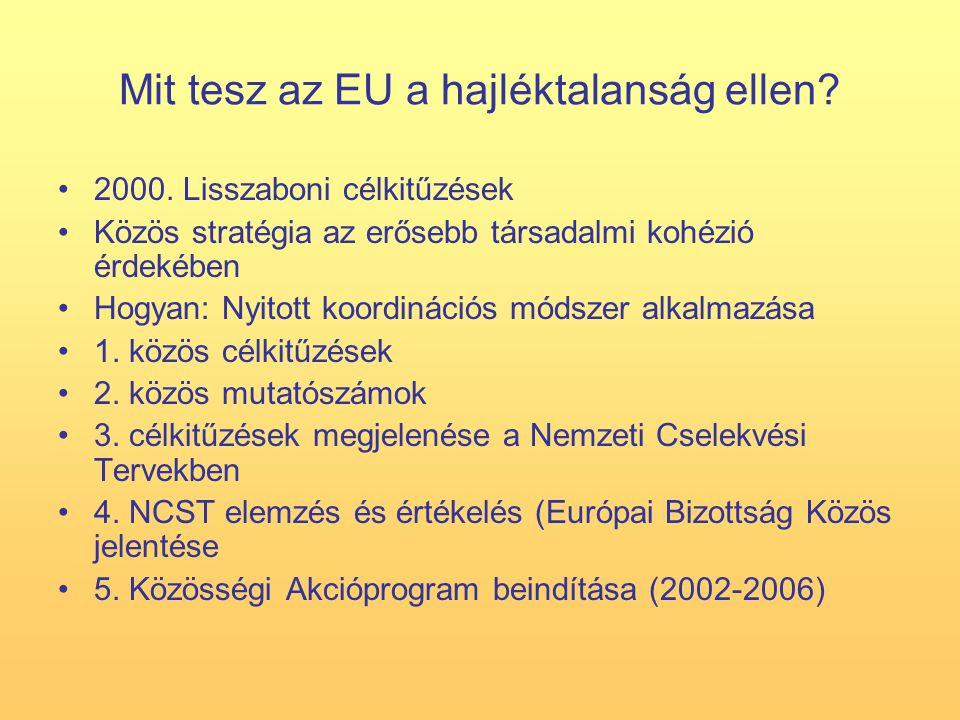 Mit tesz az EU a hajléktalanság ellen. 2000.