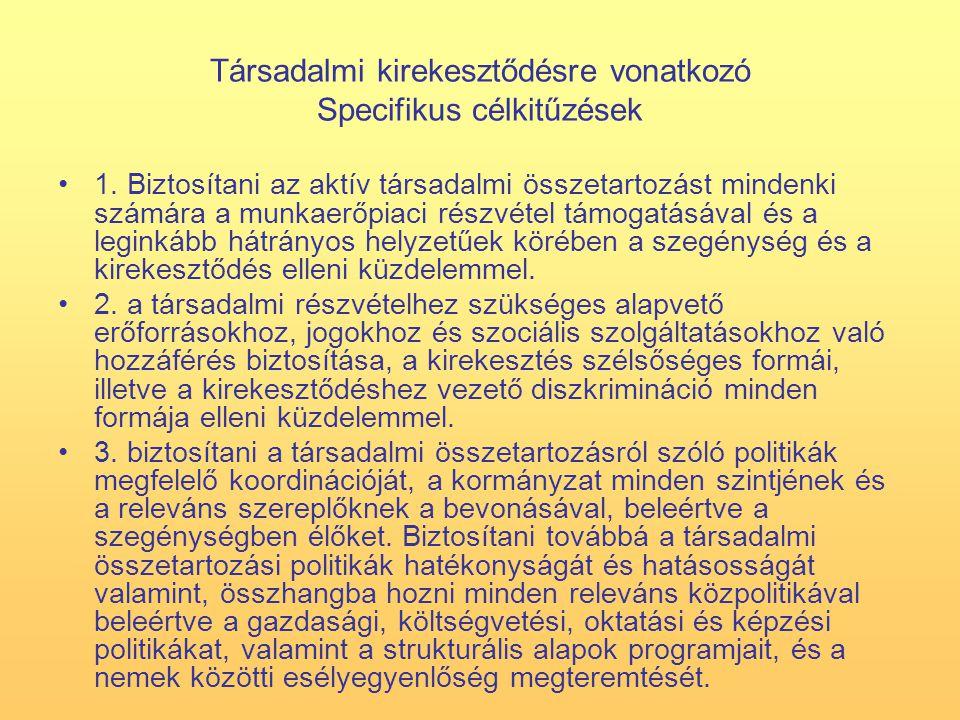 Társadalmi kirekesztődésre vonatkozó Specifikus célkitűzések 1.