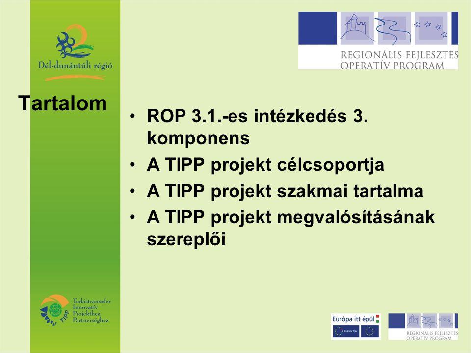 Tartalom ROP 3.1.-es intézkedés 3. komponens A TIPP projekt célcsoportja A TIPP projekt szakmai tartalma A TIPP projekt megvalósításának szereplői