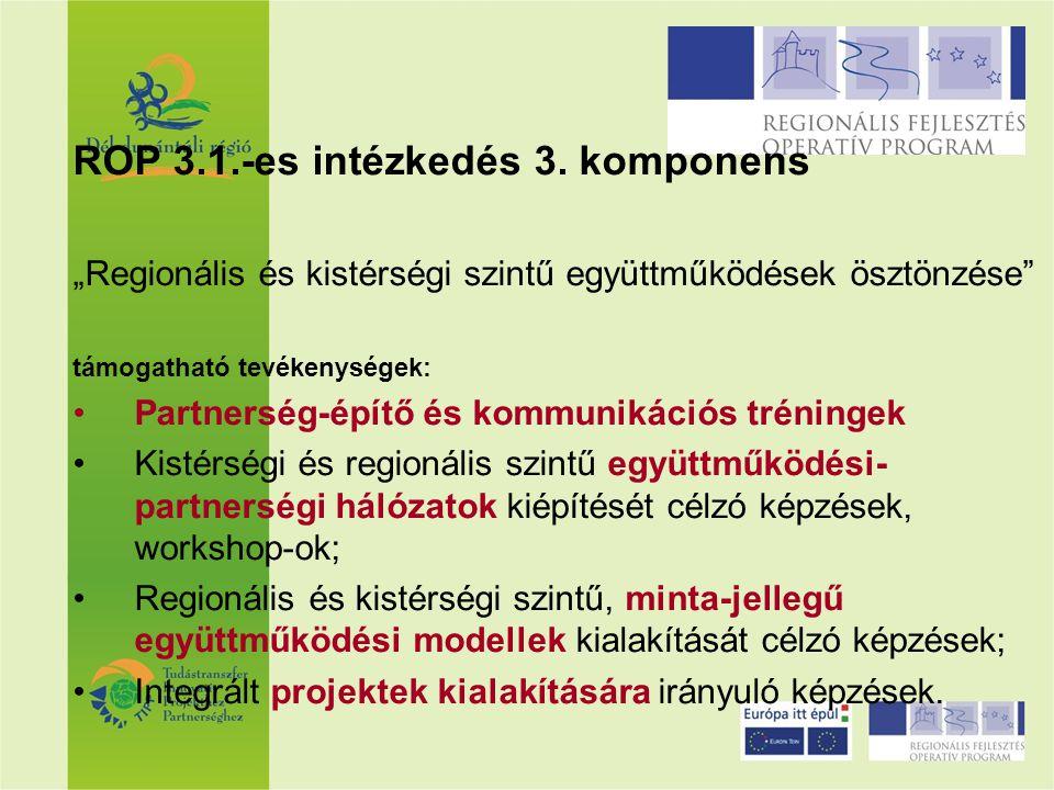 """ROP 3.1.-es intézkedés 3. komponens """"Regionális és kistérségi szintű együttműködések ösztönzése"""" támogatható tevékenységek: Partnerség-építő és kommun"""