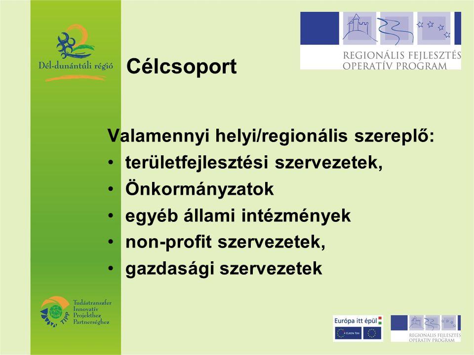 Valamennyi helyi/regionális szereplő: területfejlesztési szervezetek, Önkormányzatok egyéb állami intézmények non-profit szervezetek, gazdasági szerve