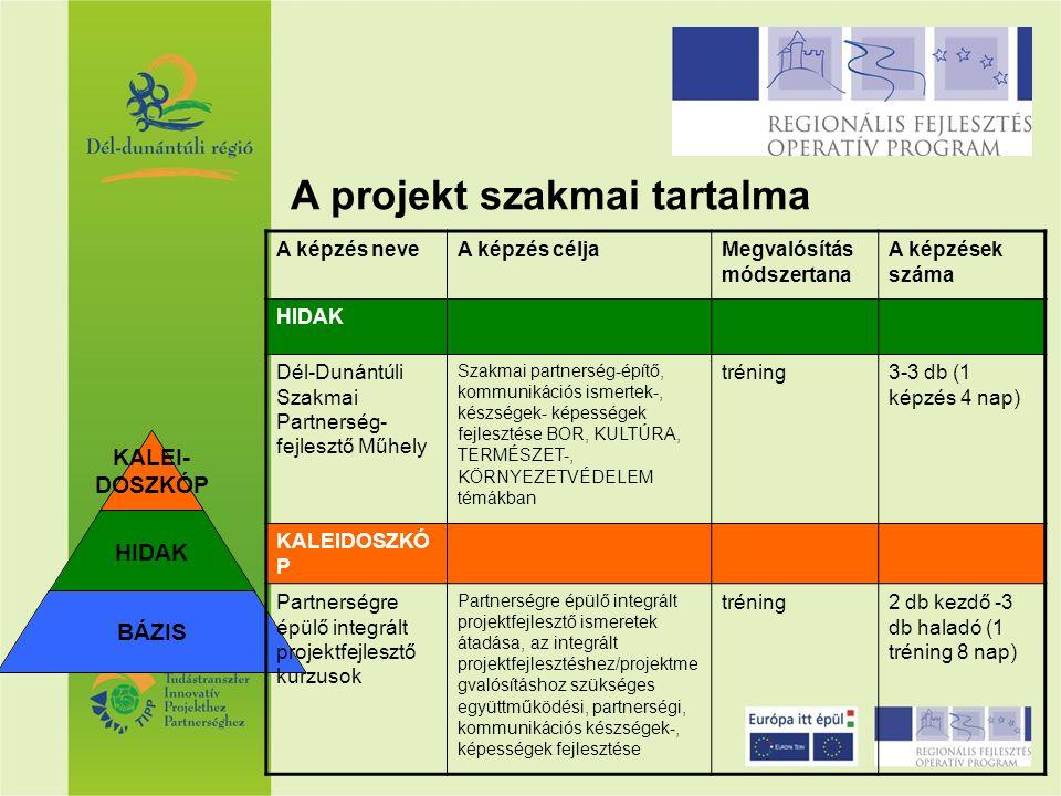 KALEI- DOSZKÓP HIDAK BÁZIS A képzés neveA képzés céljaMegvalósítás módszertana A képzések száma HIDAK Dél-Dunántúli Szakmai Partnerség- fejlesztő Műhe