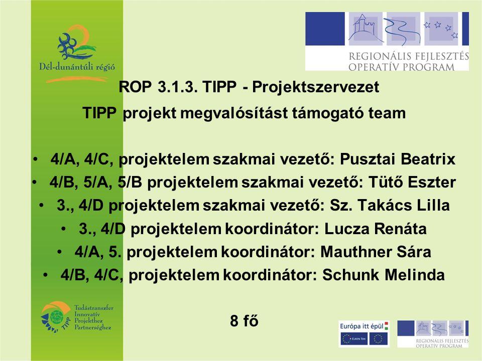 ROP 3.1.3. TIPP - Projektszervezet TIPP projekt megvalósítást támogató team 4/A, 4/C, projektelem szakmai vezető: Pusztai Beatrix 4/B, 5/A, 5/B projek