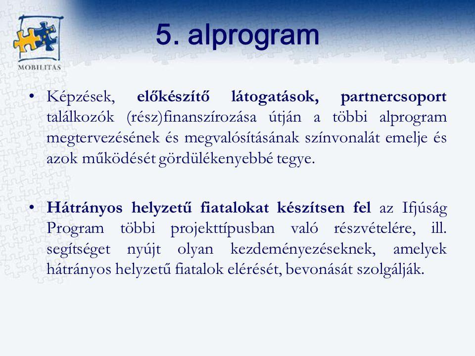 5. alprogram Képzések, előkészítő látogatások, partnercsoport találkozók (rész)finanszírozása útján a többi alprogram megtervezésének és megvalósításá