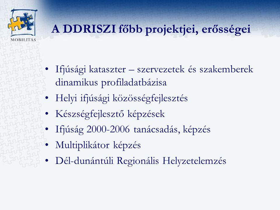 A DDRISZI főbb projektjei, erősségei Ifjúsági kataszter – szervezetek és szakemberek dinamikus profiladatbázisa Helyi ifjúsági közösségfejlesztés Készségfejlesztő képzések Ifjúság 2000-2006 tanácsadás, képzés Multiplikátor képzés Dél-dunántúli Regionális Helyzetelemzés