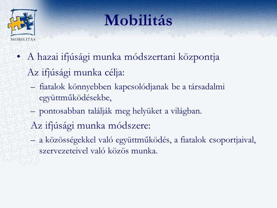 Mobilitás A hazai ifjúsági munka módszertani központja Az ifjúsági munka célja: –fiatalok könnyebben kapcsolódjanak be a társadalmi együttműködésekbe, –pontosabban találják meg helyüket a világban.
