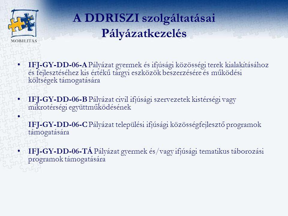 A DDRISZI szolgáltatásai Pályázatkezelés IFJ-GY-DD-06-A Pályázat gyermek és ifjúsági közösségi terek kialakításához és fejlesztéséhez kis értékű tárgyi eszközök beszerzésére és működési költségek támogatására IFJ-GY-DD-06-B Pályázat civil ifjúsági szervezetek kistérségi vagy mikrotérségi együttműködésének IFJ-GY-DD-06-C Pályázat települési ifjúsági közösségfejlesztő programok támogatására IFJ-GY-DD-06-TÁ Pályázat gyermek és/vagy ifjúsági tematikus táborozási programok támogatására