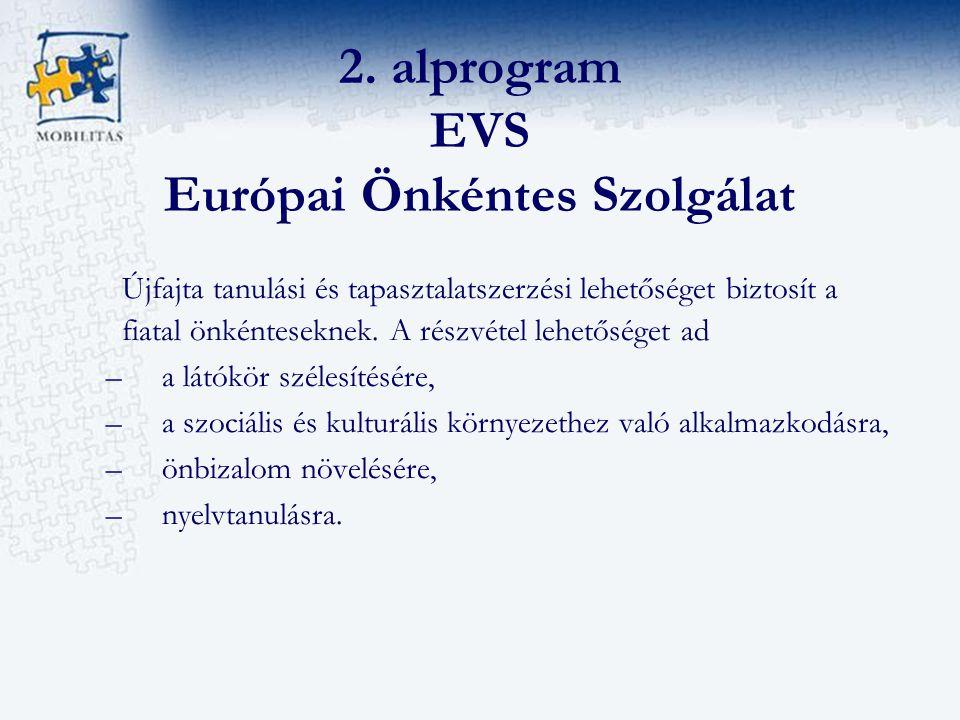 2. alprogram EVS Európai Önkéntes Szolgálat Újfajta tanulási és tapasztalatszerzési lehetőséget biztosít a fiatal önkénteseknek. A részvétel lehetőség