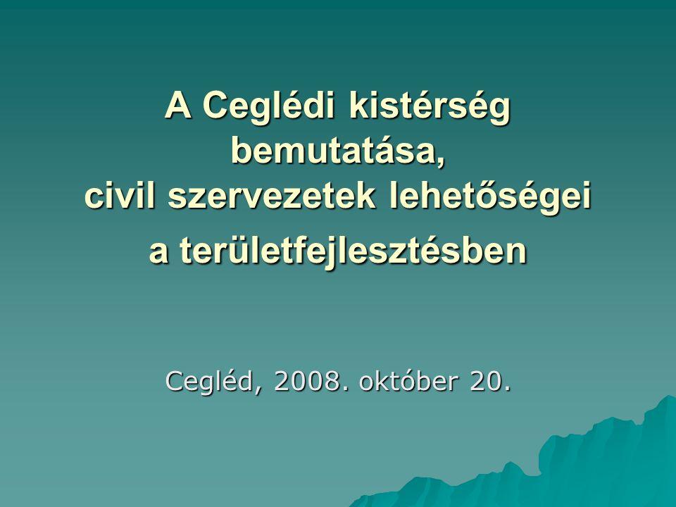 A Ceglédi kistérség bemutatása, civil szervezetek lehetőségei a területfejlesztésben Cegléd, 2008. október 20.