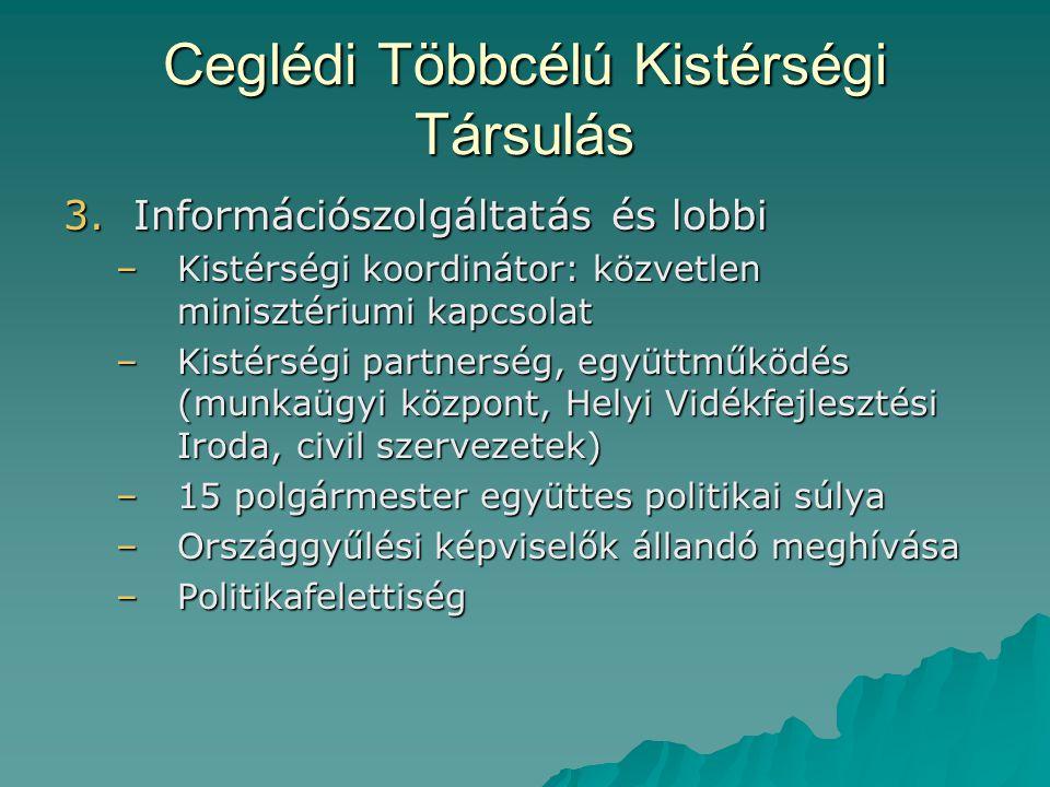 Ceglédi Többcélú Kistérségi Társulás 3.Információszolgáltatás és lobbi –Kistérségi koordinátor: közvetlen minisztériumi kapcsolat –Kistérségi partners