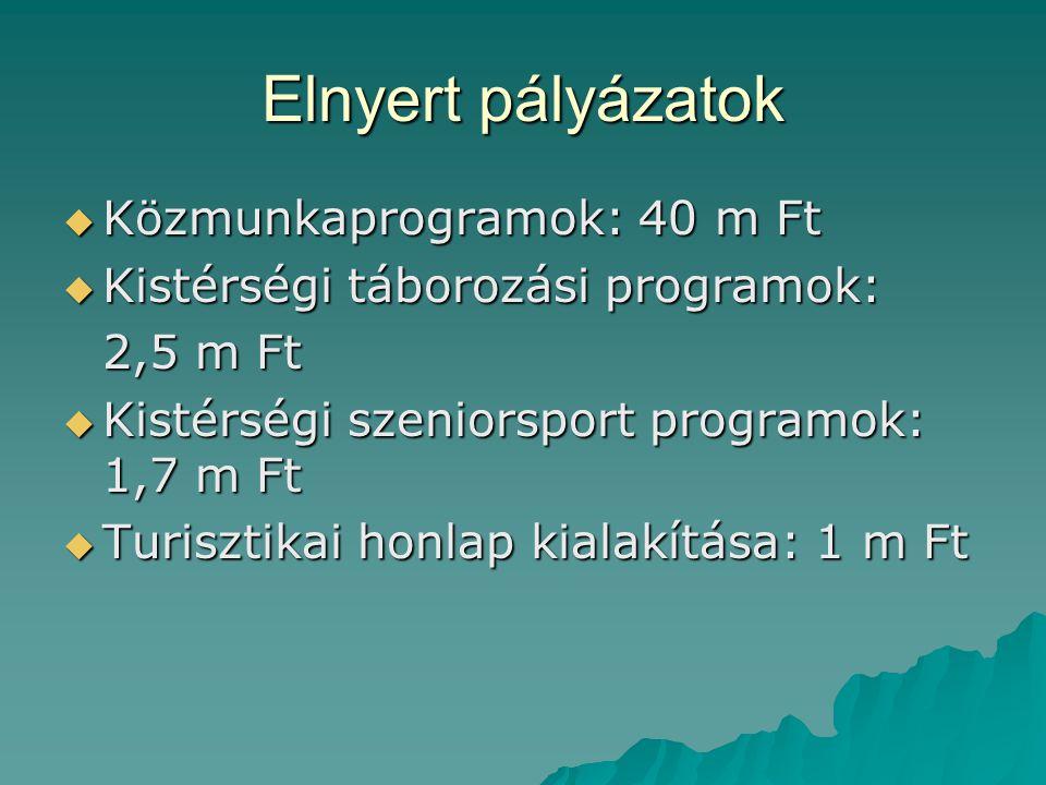 Elnyert pályázatok  Közmunkaprogramok: 40 m Ft  Kistérségi táborozási programok: 2,5 m Ft  Kistérségi szeniorsport programok: 1,7 m Ft  Turisztika