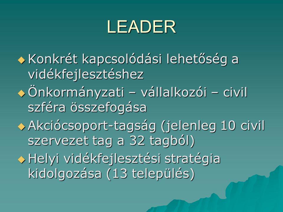 LEADER  Konkrét kapcsolódási lehetőség a vidékfejlesztéshez  Önkormányzati – vállalkozói – civil szféra összefogása  Akciócsoport-tagság (jelenleg