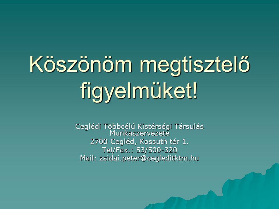 Köszönöm megtisztelő figyelmüket! Ceglédi Többcélú Kistérségi Társulás Munkaszervezete 2700 Cegléd, Kossuth tér 1. Tel/Fax.: 53/500-320 Mail: zsidai.p