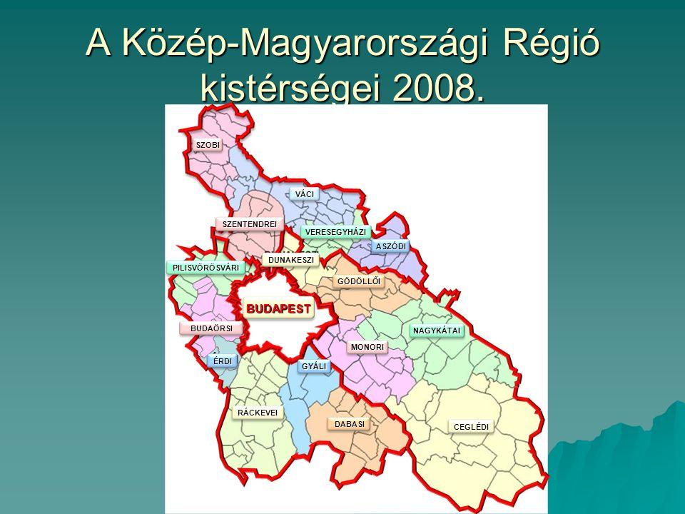 A Közép-Magyarországi Régió kistérségei 2008. ÉRDI BUDAÖRSI SZOBI VÁCI VERESEGYHÁZI ASZÓDI SZENTENDREI DUNAKESZI GÖDÖLLŐI NAGYKÁTAI CEGLÉDI PILISVÖRÖS