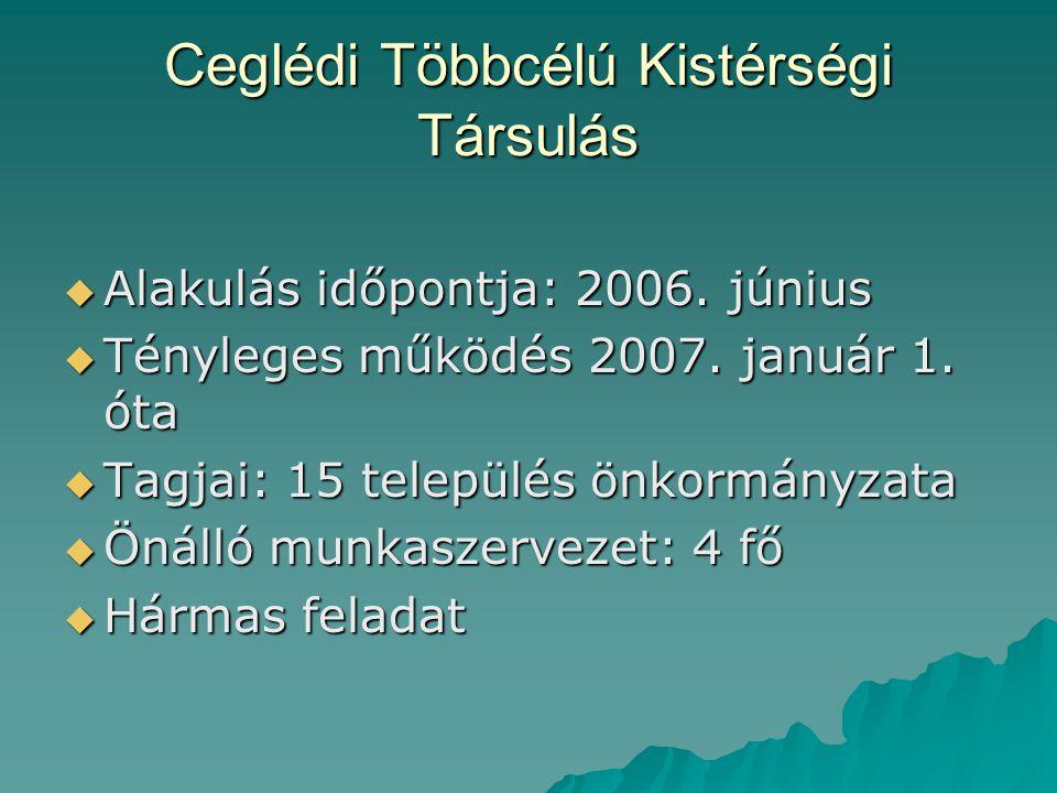 Ceglédi Többcélú Kistérségi Társulás  Alakulás időpontja: 2006. június  Tényleges működés 2007. január 1. óta  Tagjai: 15 település önkormányzata 