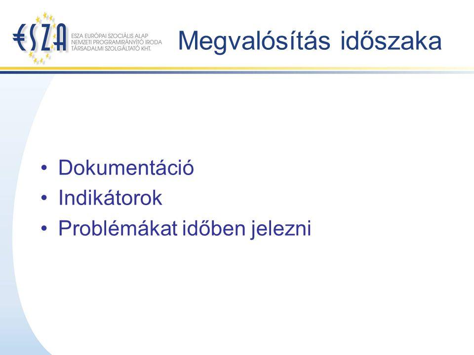 Megvalósítás időszaka Dokumentáció Indikátorok Problémákat időben jelezni