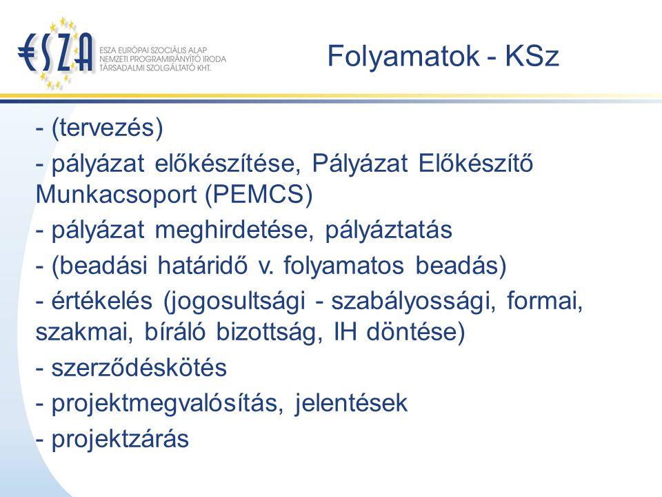 Folyamatok - KSz - (tervezés) - pályázat előkészítése, Pályázat Előkészítő Munkacsoport (PEMCS) - pályázat meghirdetése, pályáztatás - (beadási határidő v.
