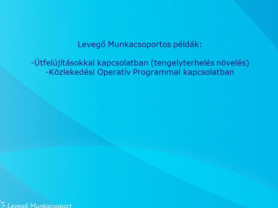 Levegő Munkacsoportos példák: -Útfelújításokkal kapcsolatban (tengelyterhelés növelés) -Közlekedési Operatív Programmal kapcsolatban