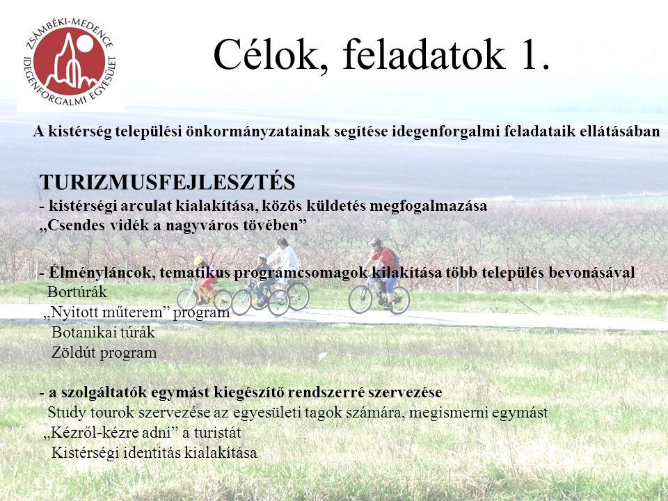 Célok, feladatok 1. A kistérség települési önkormányzatainak segítése idegenforgalmi feladataik ellátásában TURIZMUSFEJLESZTÉS - kistérségi arculat ki