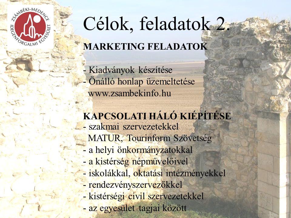 Célok, feladatok 2. MARKETING FELADATOK - Kiadványok készítése - Önálló honlap üzemeltetése www.zsambekinfo.hu KAPCSOLATI HÁLÓ KIÉPÍTÉSE - szakmai sze