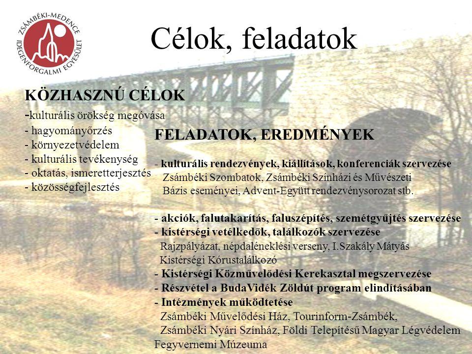 Célok, feladatok KÖZHASZNÚ CÉLOK - kulturális örökség megóvása - hagyományőrzés - környezetvédelem - kulturális tevékenység - oktatás, ismeretterjeszt