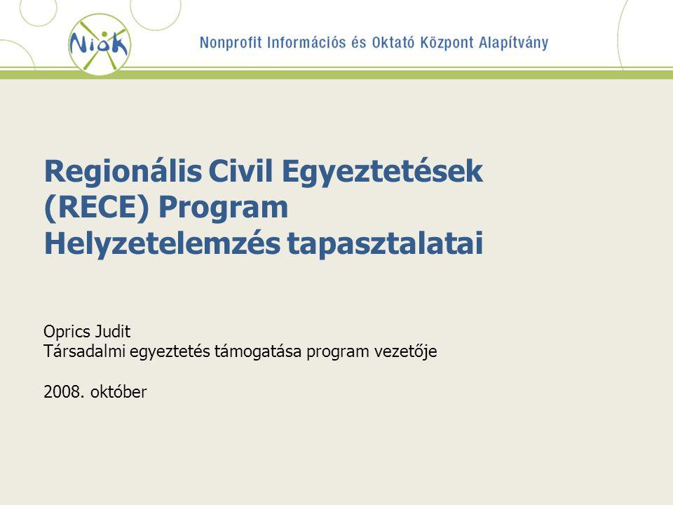 Regionális Civil Egyeztetések (RECE) Program Helyzetelemzés tapasztalatai Oprics Judit Társadalmi egyeztetés támogatása program vezetője 2008. október
