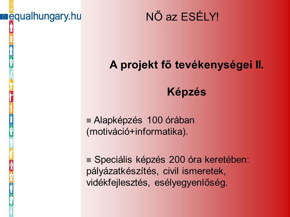 A projekt fő tevékenységei II. Képzés Alapképzés 100 órában (motiváció+informatika). Speciális képzés 200 óra keretében: pályázatkészítés, civil ismer