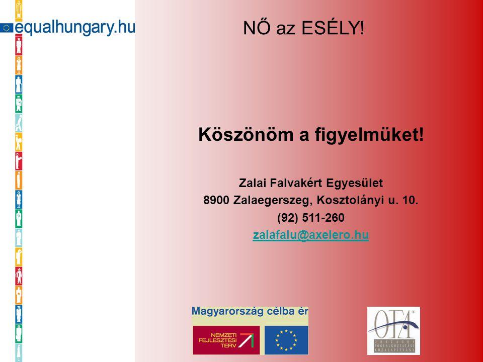 Köszönöm a figyelmüket! Zalai Falvakért Egyesület 8900 Zalaegerszeg, Kosztolányi u. 10. (92) 511-260 zalafalu@axelero.hu NŐ az ESÉLY!