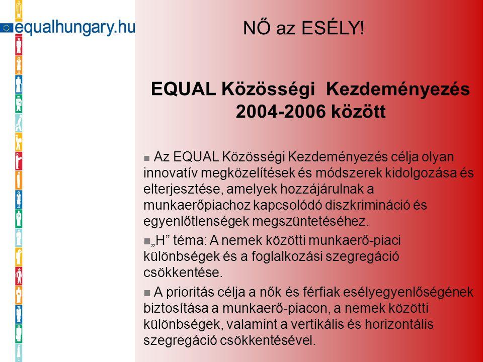 EQUAL Közösségi Kezdeményezés 2004-2006 között Az EQUAL Közösségi Kezdeményezés célja olyan innovatív megközelítések és módszerek kidolgozása és elter