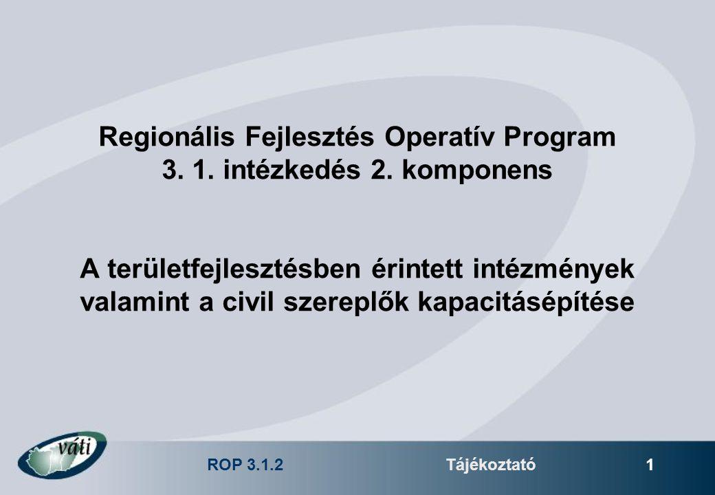 ROP 3.1.2Tájékoztató 1 Regionális Fejlesztés Operatív Program 3.
