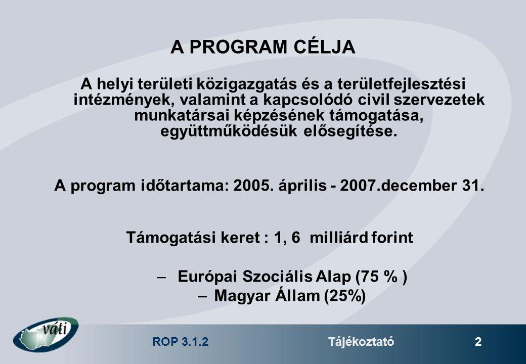 ROP 3.1.2Tájékoztató 2 A PROGRAM CÉLJA A helyi területi közigazgatás és a területfejlesztési intézmények, valamint a kapcsolódó civil szervezetek munkatársai képzésének támogatása, együttműködésük elősegítése.