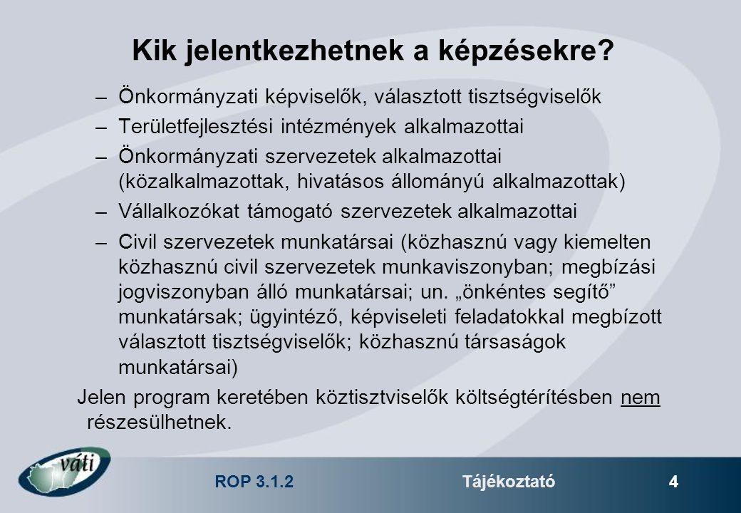 ROP 3.1.2Tájékoztató 4 Kik jelentkezhetnek a képzésekre? –Önkormányzati képviselők, választott tisztségviselők –Területfejlesztési intézmények alkalma