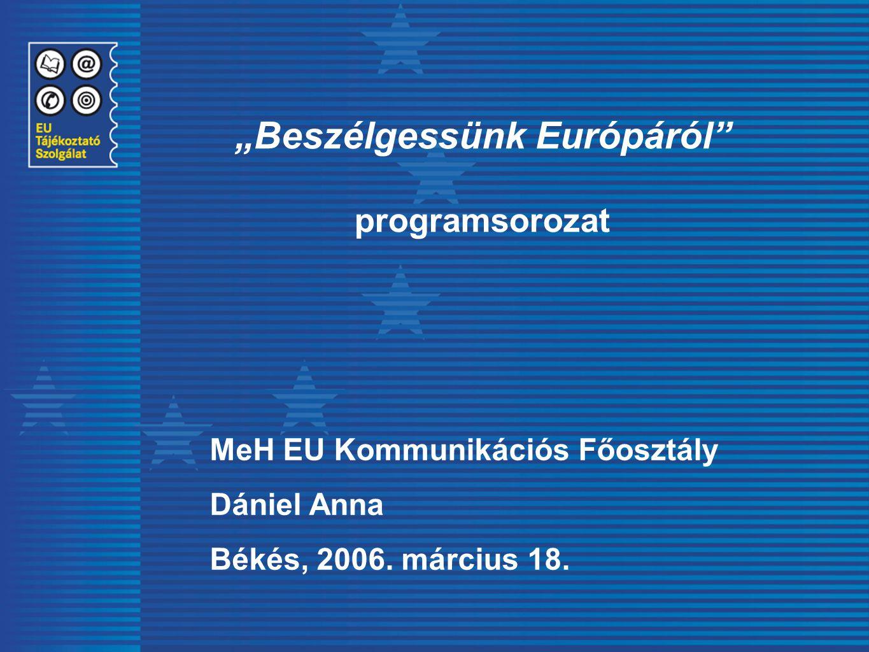 """""""Beszélgessünk Európáról"""" programsorozat MeH EU Kommunikációs Főosztály Dániel Anna Békés, 2006. március 18."""
