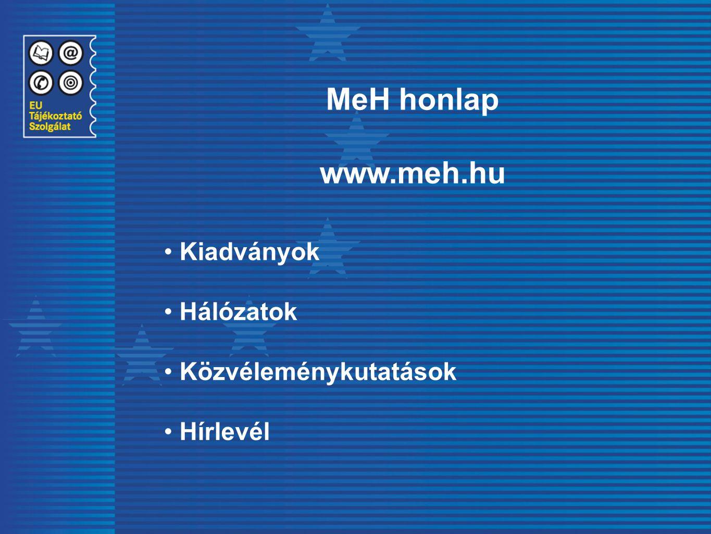 MeH honlap www.meh.hu Kiadványok Hálózatok Közvéleménykutatások Hírlevél