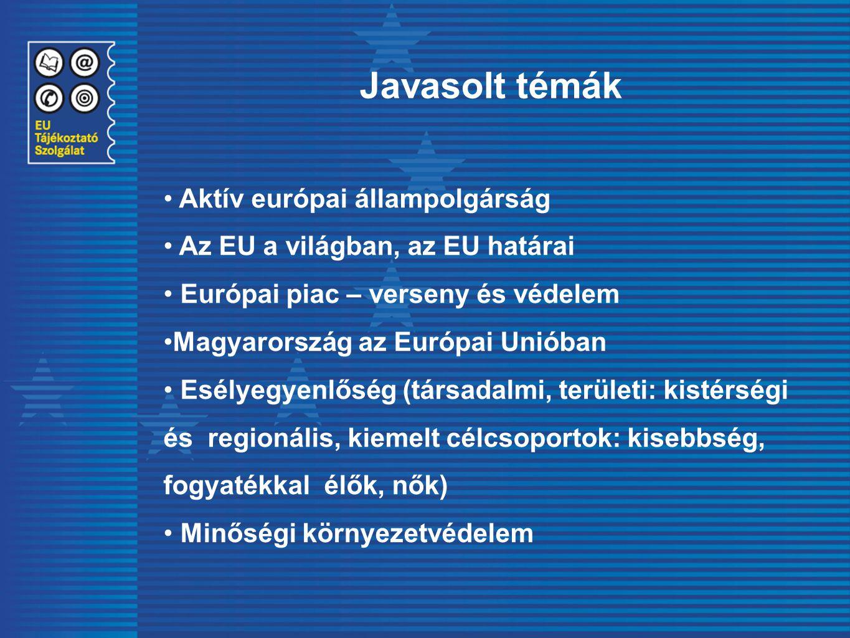 Aktív európai állampolgárság Az EU a világban, az EU határai Európai piac – verseny és védelem Magyarország az Európai Unióban Esélyegyenlőség (társad