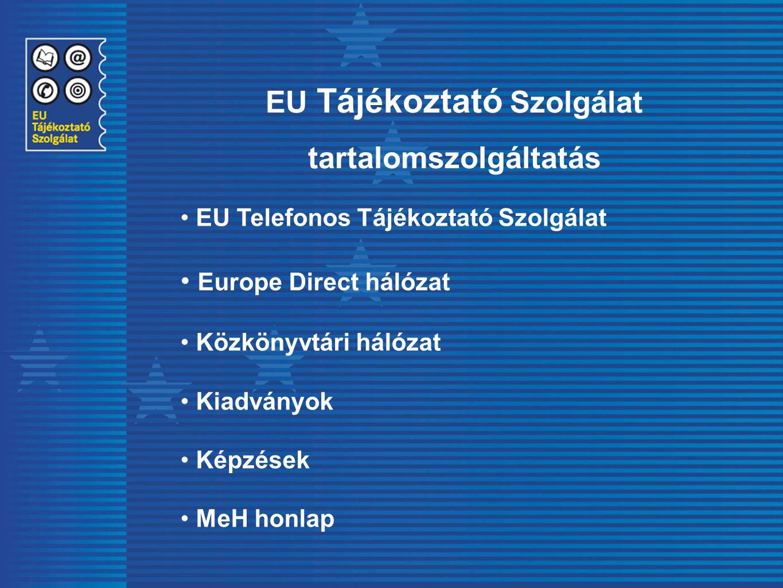 EU Tájékoztató Szolgálat tartalomszolgáltatás EU Telefonos Tájékoztató Szolgálat Europe Direct hálózat Közkönyvtári hálózat Kiadványok Képzések MeH ho