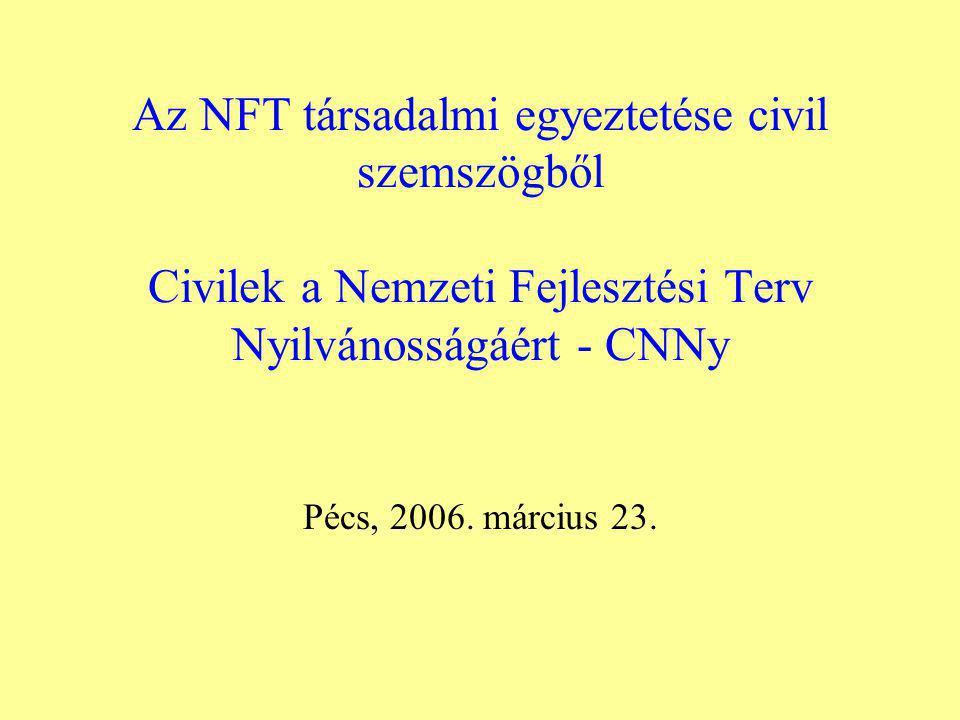 Az NFT társadalmi egyeztetése civil szemszögből Civilek a Nemzeti Fejlesztési Terv Nyilvánosságáért - CNNy Pécs, 2006.