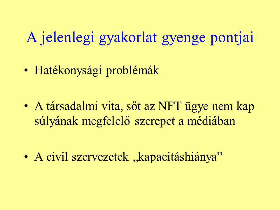 """A jelenlegi gyakorlat gyenge pontjai Hatékonysági problémák A társadalmi vita, sőt az NFT ügye nem kap súlyának megfelelő szerepet a médiában A civil szervezetek """"kapacitáshiánya"""