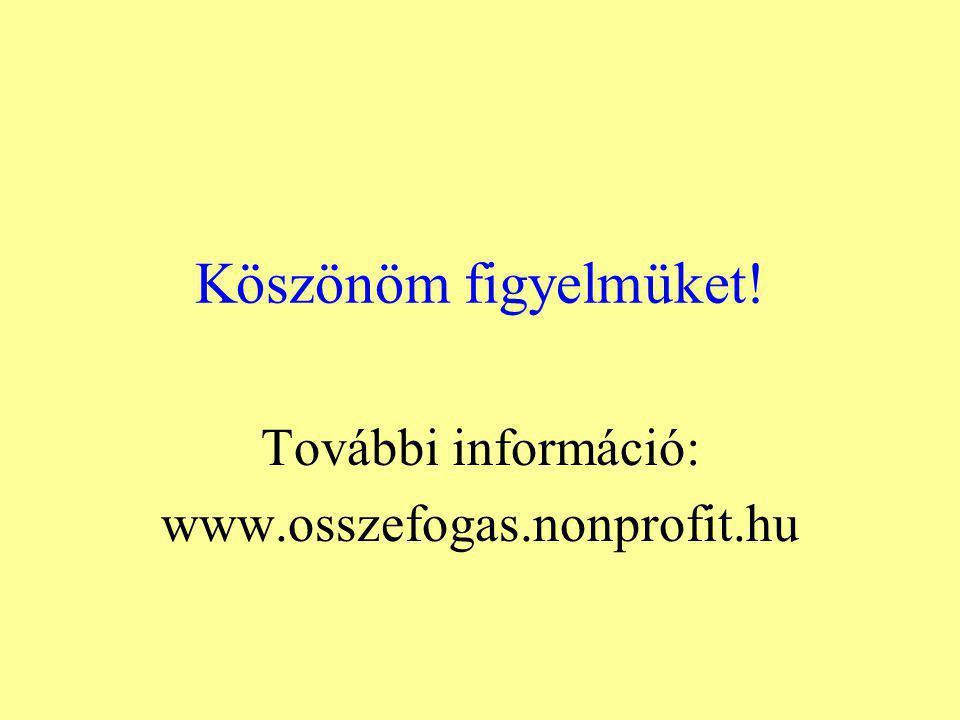 Köszönöm figyelmüket! További információ: www.osszefogas.nonprofit.hu