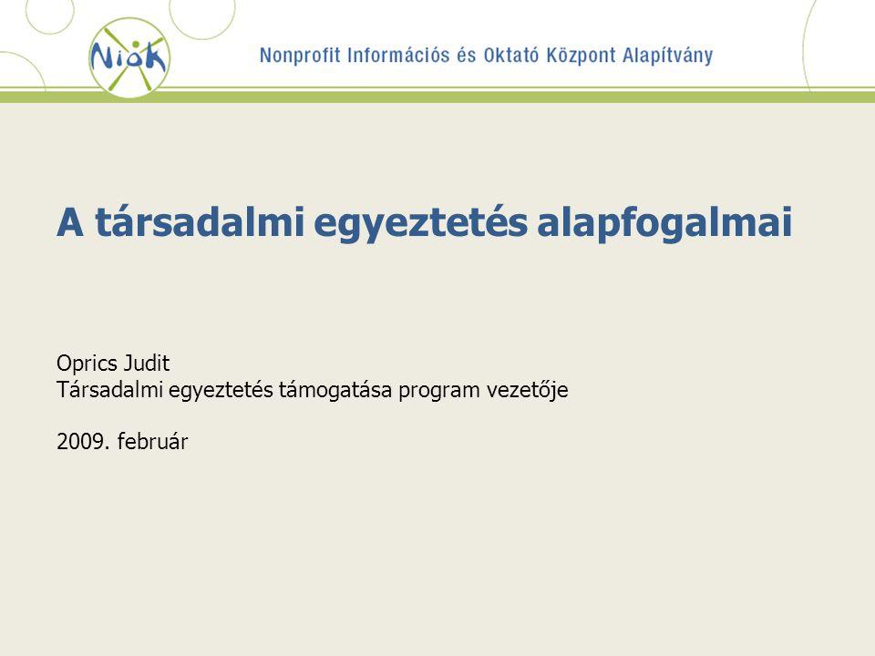 A társadalmi egyeztetés alapfogalmai Oprics Judit Társadalmi egyeztetés támogatása program vezetője 2009.