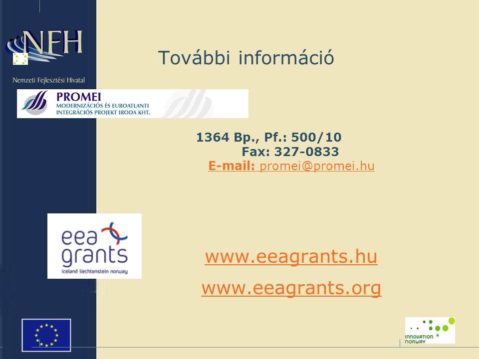 További információ 1364 Bp., Pf.: 500/10 Fax: 327-0833 E-mail: promei@promei.hu E-mail: promei@promei.hu www.eeagrants.hu www.eeagrants.org